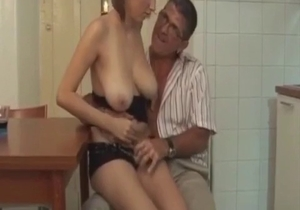 Dirty daddy is playing with a busty daughter
