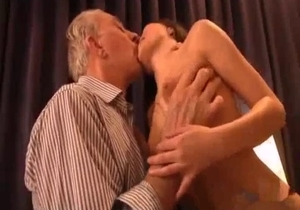 Real daughter sucks an old dad dick