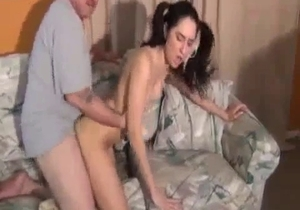 Black haired daughter banged by dad