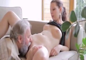 Old dad licks his daughter wide opened cunt