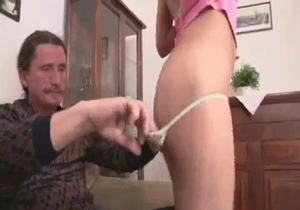 Daddy licks his daughter puss with love