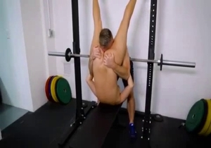 Flexy sister rides her muscled bro dick