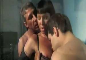 Son and dad sucked by a lusty mommy