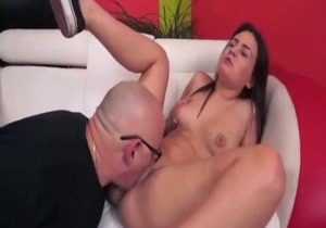 Bald dad licks his daughter shaved pussy
