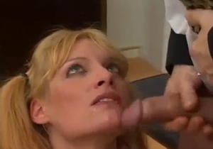 Brother cums on his sister lips