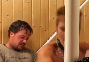 Brutal and real anal incest in the sauna