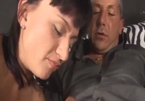 Slutty brunette sister gives a head for a brother