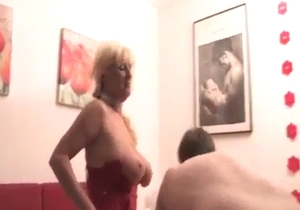 Young son gets a hot blowjob by his mom