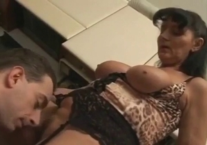 Son licks his mom pussy on the knees