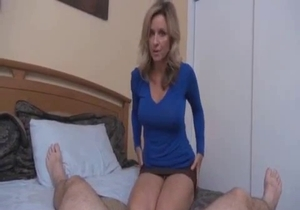 Big boobed mom enjoys her first incest