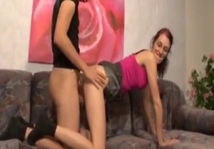 Slender girl rides a massive dick of a brother