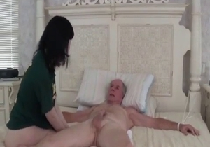 Perfect daughter swallows her daddy cumshot